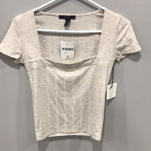 Forever 21 off white/cream fitted T-shirt